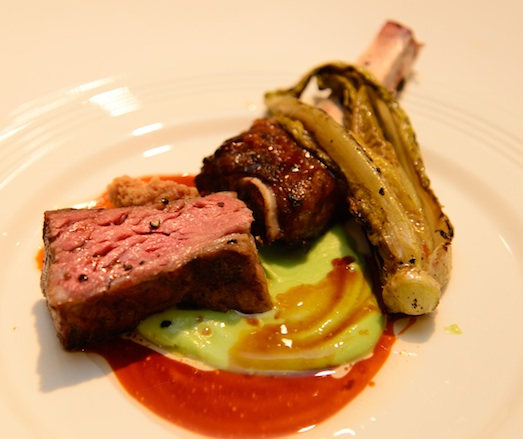 Grilled Short Ribs with Romaine and Sweetbreads